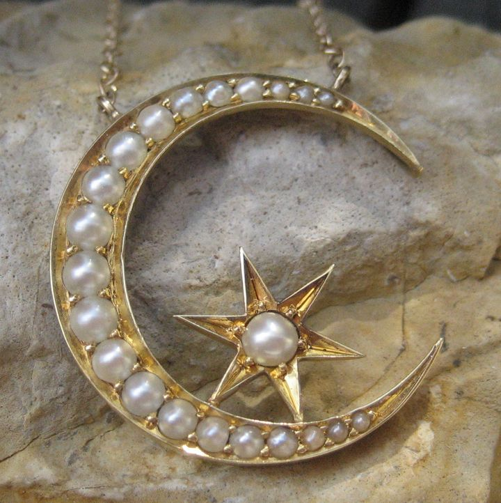 Victorian moon star seed pearl pendant 14k necklace from circa1700 roll over large image to magnify click large image to zoom mozeypictures Gallery