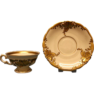 A Small KPM (Waldenburg) Coffee Cup and Saucer, c.1900