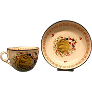 A Minton Bute Shape Cup and Saucer, c.1815