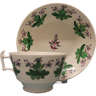 A Pretty Staffordshire London Shape Tea Cup and Saucer, c.1820