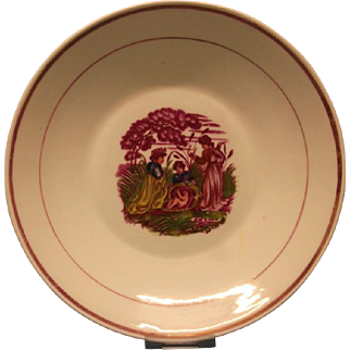A Staffordshire Lustre Decorated Saucer Dish - 'The Finding of Moses.'