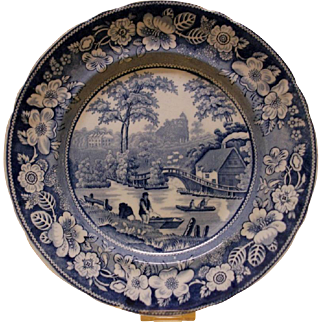 A Staffordshire Transfer Printed Plate - 'Wild Rose', c.1830