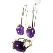 Vintage MOD Amethyst Sterling Silver Ring and Earrings Set over 35 carats