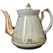 Mid Century Hall Teapot Gold Basket Weave Near Mint