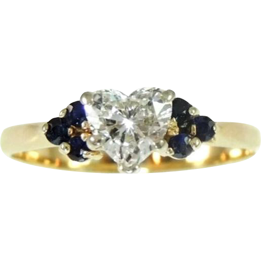 Diamond Heart Engagement Ring with Sapphire Accents 14k Gold 68 ct from prem