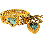 Vintage Pitman & Keeler Sweetheart HEART Expansion Bracelet Necklace Set Orig Box Topaz Rhinestone