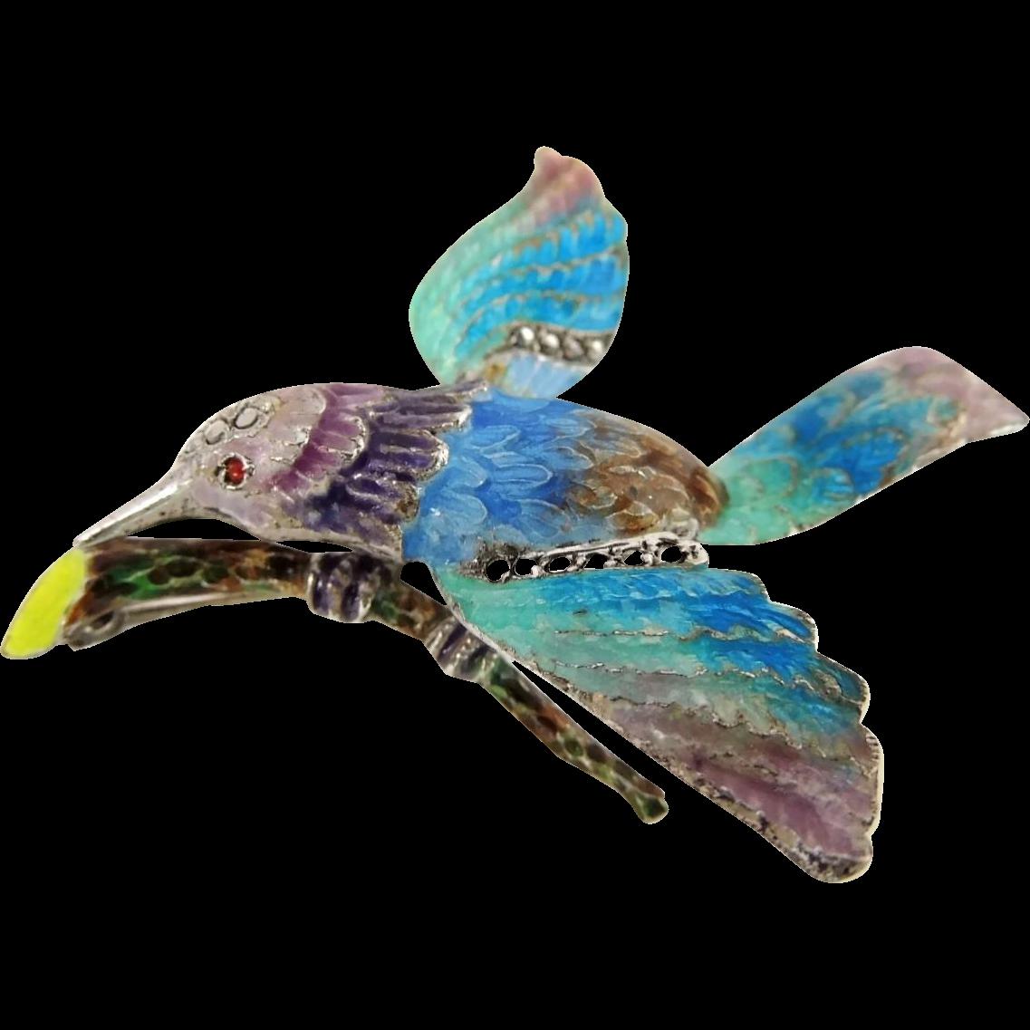 Art Deco Enamel Marcasite Sparrow Bird Brooch Sterling Silver Germany