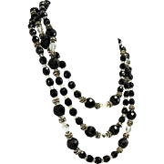 Deco Jet Black Glass Faceted Bead Necklace with Crystal Rhinestone Spacers Extra Long
