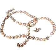 Pastel Cultured Pearl Necklace Bracelet Earring Set 585 14k Filigree Gold Clasp