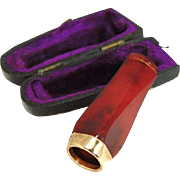 Art Deco Cherry Amber Cigarette Cigar Holder with Gold Filled Band Accent