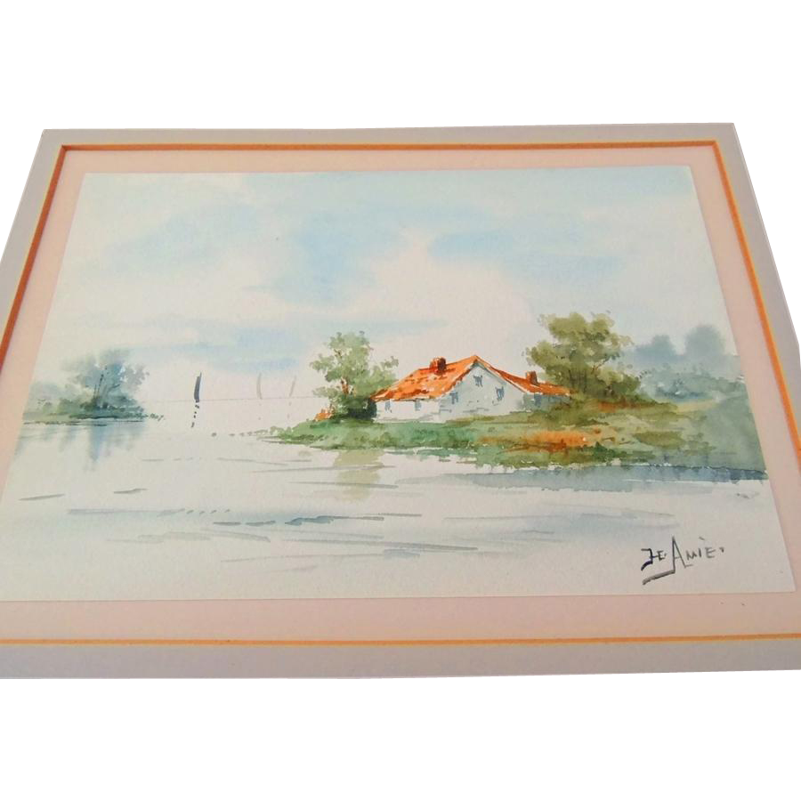 Antique American Watercolor Painting Scenic Signed Artist