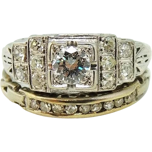 Art Deco Diamond Wedding Engagement Ring Set 19k White Gold Signed From Premier Antiques On Ruby