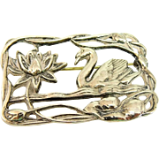Vintage Nouveau Rival Sterling Silver Waterlily and Swan Brooch Big Bold