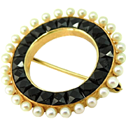 Antique Pearl and Faceted Onyx 14k Gold Eternity Brooch Sloan & Co. c1900