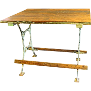 Antique Pine Top Work Table Cast Iron Legs Sewing Table Bakers Table