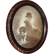 Antique Oval Grain Painted Frame Man with Dog Photo Bubble Glass