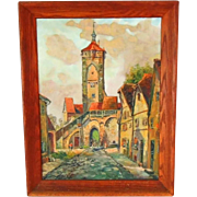 Vintage Painting Oil on Canvas European Signed