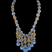 Art Deco Czech Glass Fringe Necklace Gilded Filigree Work