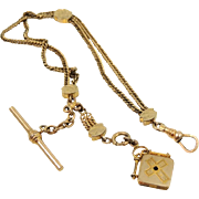 Antique Pocket Watch Chain with Slider and Cross Fob Gold Filled Sturdy Co.