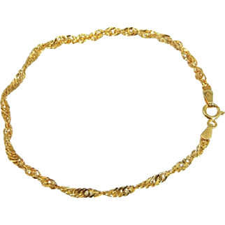 Classic 14k Gold Rope Bracelet Dainty Italy