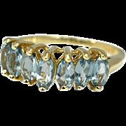 10k Sky Blue Topaz Ring Gold Chevron Setting Marquise Stones 2.17 ctw