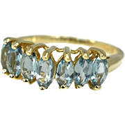 Sky Blue Topaz Ring 10k Gold Chevron Setting Marquise Stones 2.17 ctw