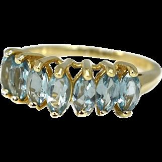 Sky Blue Topaz Ring 10k Gold Chevron Setting Marquise Stones 2.17 ctw