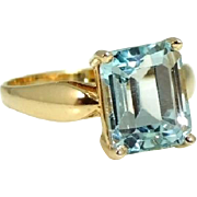 14k Gold Sky Blue Topaz Ring 4.26 Carats December Birthstone