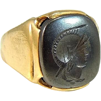 Men's Intaglio Ring 10k Gold Heavy Vintage