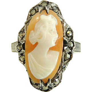 Antique Shell Cameo Ring Sterling Silver Marcasite Art Nouveau Era