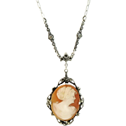Antique Cameo Necklace Sterling Silver Marcasite Art Nouveau