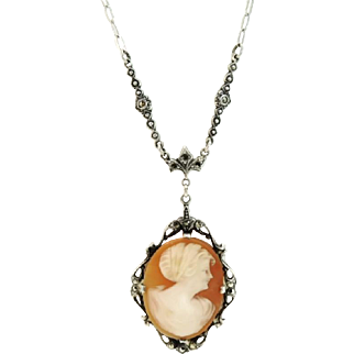 Antique Cameo Necklace Sterling Silver Marcasite Art Nouveau