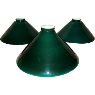 Vintage Emeralite Lamp Shades Green White Cased Glass Set of 3