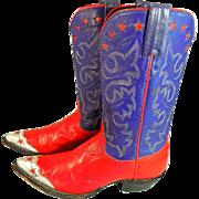 Women's Vintage Cowboy Boots Americana Patriot Colors Stars 6.5B