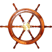 Vintage Ship's Wheel Solid Cherry Brass Large 30.5 Inch Nautical