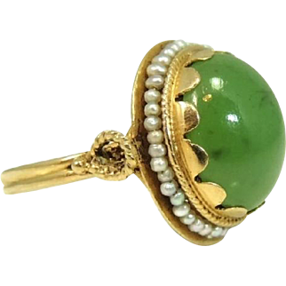 Art Nouveau Nephrite Jade Cocktail Ring 14k Gold Antique Strung Seed Pearls Over 8 cts