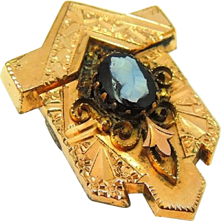 Antique Victorian Gold Filled Brooch with Carved Onyx Cameo Ornate Layered Scroll Work and Engraving