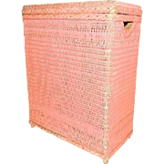 1960s Pink Wicker Shabby Hamper Great Cottage Style