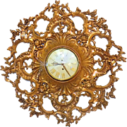 Impressive Syroco Wall Clock Hollywood Regency Style Vintage Large 26 Inch 8 Day Wind Up