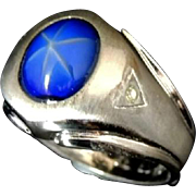 Men's Glass Lindy Star Ring 14k White Gold Over Sterling Silver Vintage