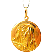 Vintage 18k Gold Blessed Mary Madonna Pendant Medallion Italy