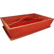 Mid 19th Century Red Painted Cutlery Box Knife Box