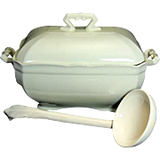 Antique Ironstone Tureen with Lid and Ladle Stark White Excellent Condition J. Maddock & Sons