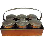 19th Century Toleware Spice Jar Carrier Six Spice Jars Stenciled