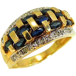 Sapphire and Diamond 14k Gold Ring Woven Style