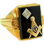 10k Gold Masonic Ring Art Deco Onyx Diamond Enamel Bold Setting