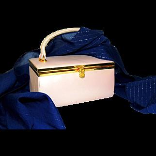 1960s Lisette Pearl Pink Box Purse Jackie O Style Vintage