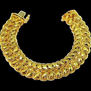 Vintage 14k Gold Bracelet Fancy Woven Wide Link Italy