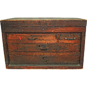 Antique Wood Machinist Tool Box Beveled Sides Hand Crafted Woodworking Carpentry