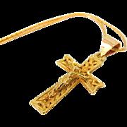 14k Gold Fancy Crucifix Necklace Vintage